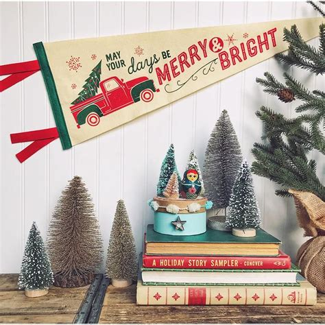 merry bright pick  truck printed wool pennant fancy  design house