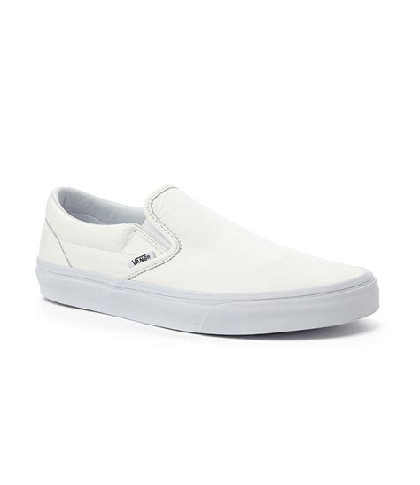 white slip on sneakers for lyst vans classic leather slip on sneakers in white for