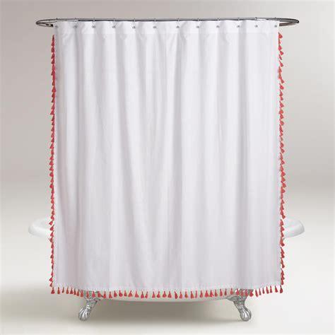 coral shower curtains coral tassel shower curtain world market