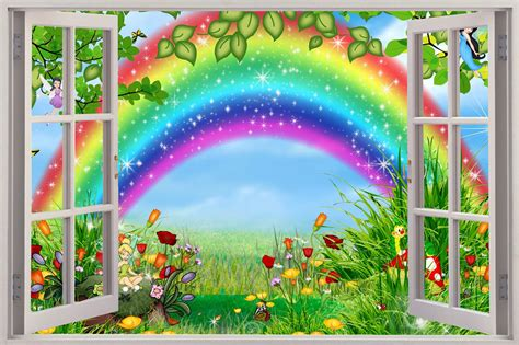wall stickers rainbow 3d window view childrens fairytale rainbow wall