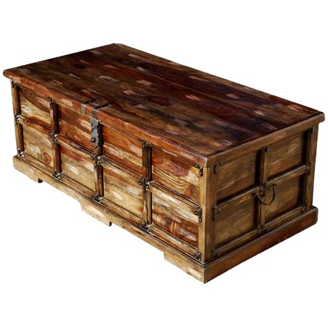 unique solid wood steamer storage trunk coffee table