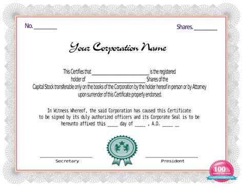 red stock certificate template certificate templates