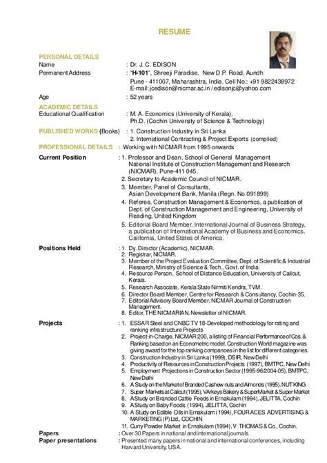 J C Resumes by Resume Dr J C Edison