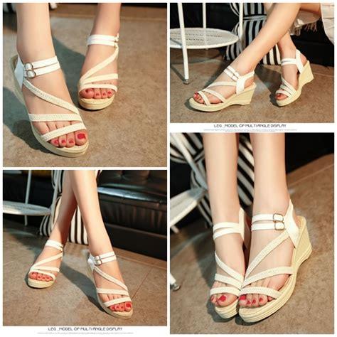 Sepatu Wanita Angeline 5cm Size Suede Size 35 39 jual shw6001 beige sepatu wedges modis 5cm grosirimpor
