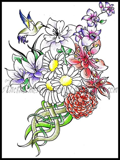 rose bouquet tattoo bouquet on thigh with birth flowers for family