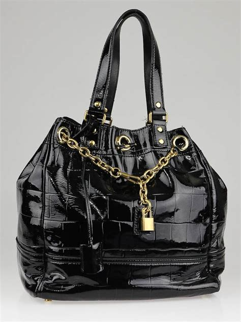 Allens Ysl Overseas Bag by Yves Laurent Black Croc Embossed Patent Leather