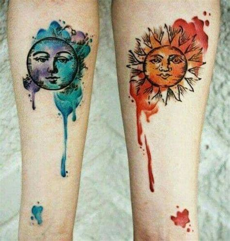 watercolor sun tattoo by the moon matching ideas for