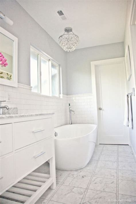 benjamin sidewalk gray in a bathroom with marble subway tile and freestanding tub photo