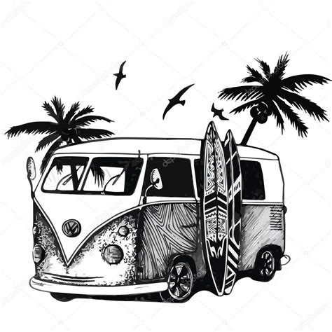 vintage surf car surfing car surf illustration caribbean surf