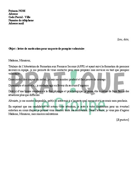Lettre De Motivation De Pompier Volontaire Lettre De Motivation Pour Devenir Pompier Volontaire