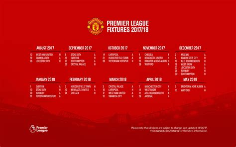 Calendar 2018 Utd 2017 2018 United Fixtures United Indonesia
