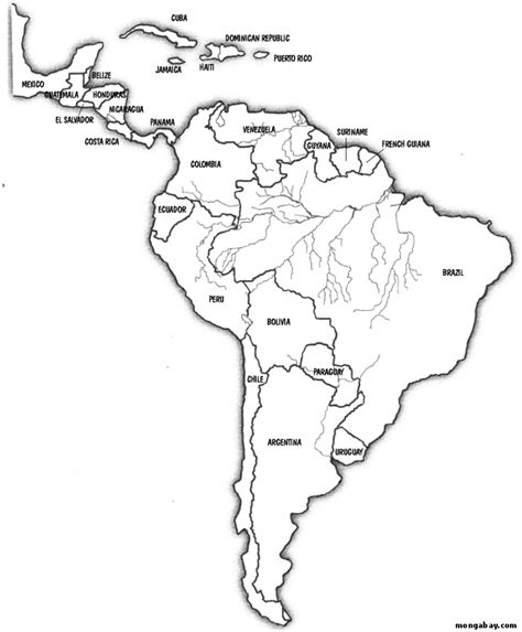 Central America Outline Map Labeled by Map Of South America And Central America