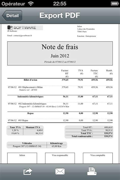 Modele Note De Frais Restaurant