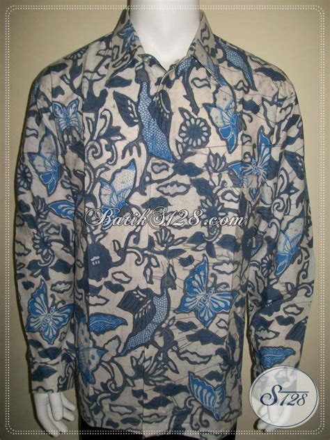 Kemeja Pria Spark Lp Putih kemeja batik pria dasar putih lengan panjang motif warna biru kalem soft tidak norak elegan