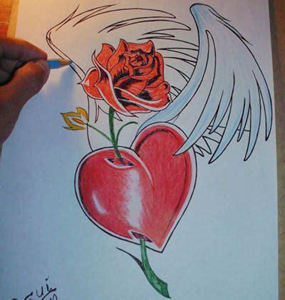 imagenes bonitas para dibujar de corazones imagenes de corazones con alas para dibujar hermoso