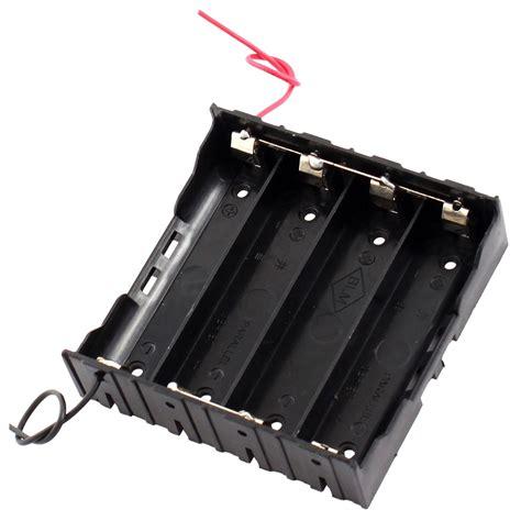 Baterai Holder 18650 X 2 rectangle in parallel 2 wired 4 x 3 7v 18650 battery holder black ts ebay