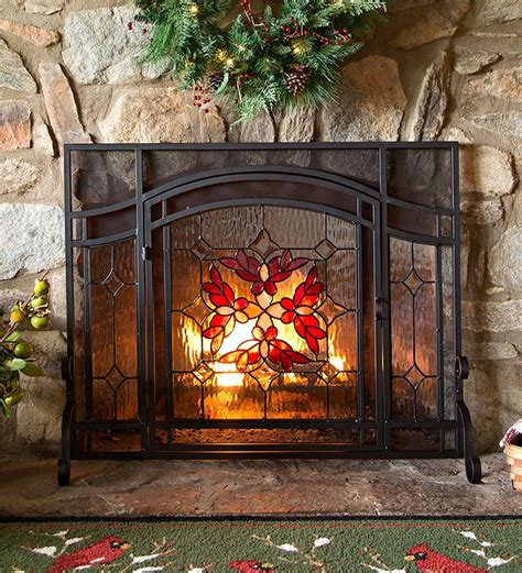 10 Best Decorative Fireplace Screens 2016 Best Mesh Stained Glass Fireplace Doors