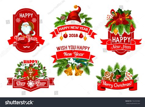 new year gift set 2018 merry happy new year 2018 stock vector 742255582