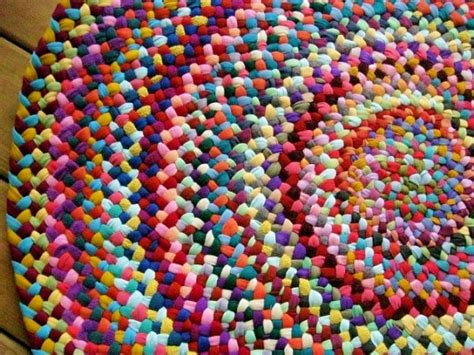 Made To Order Colorful Braided Round Rug In Upcycled Cotton Colorful Rug