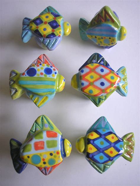 Fish Knobs And Pulls by One Of A Ceramic Fish Knob Drawer Pull Cabinet Pull