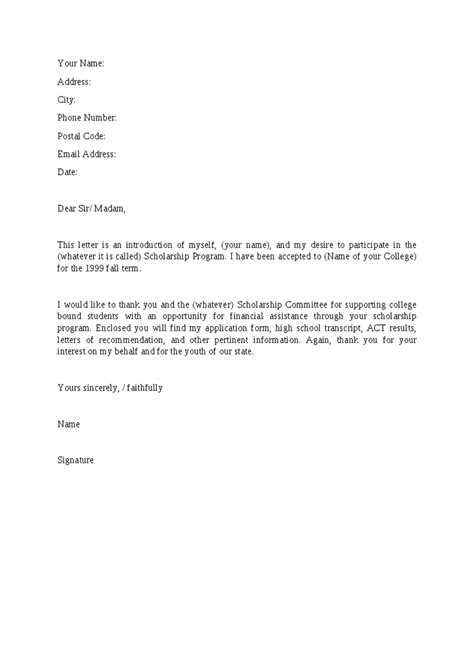 Sle Cover Letter For Scholarship Application cover letter to scholarship committee 28 images scholarship cover letter sle 1 sle letter