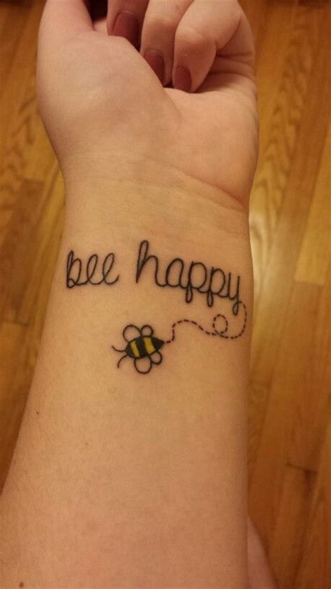 be happy tattoo bee happy simple tattoos