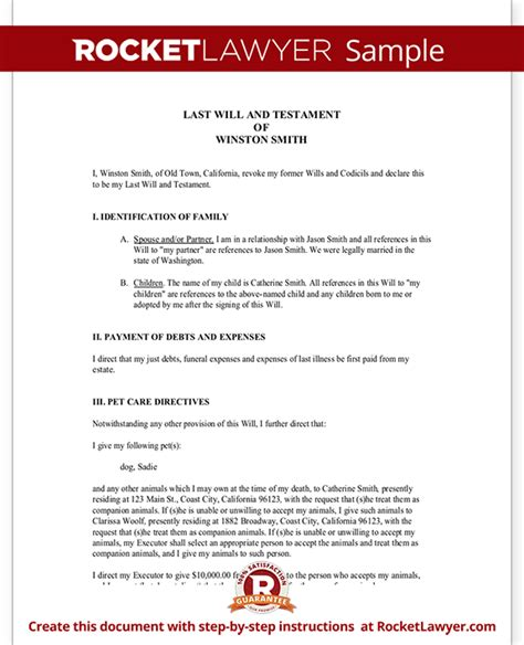 will and testament template free sle last will and testament form template