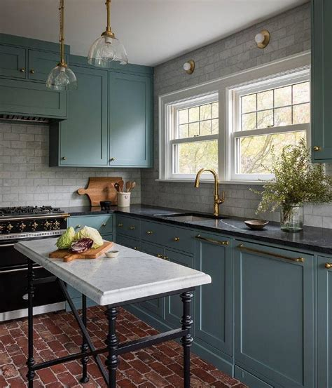 light gray brick backsplash tiles transitional kitchen
