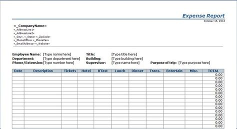 operating expense report template expense report template free things patterns templates