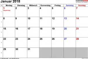 Kalender Januar 2018 Kalender Januar 2018 Als Excel Vorlagen