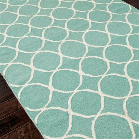 shades of light com circle lattice dhurrie rug in sea blue http