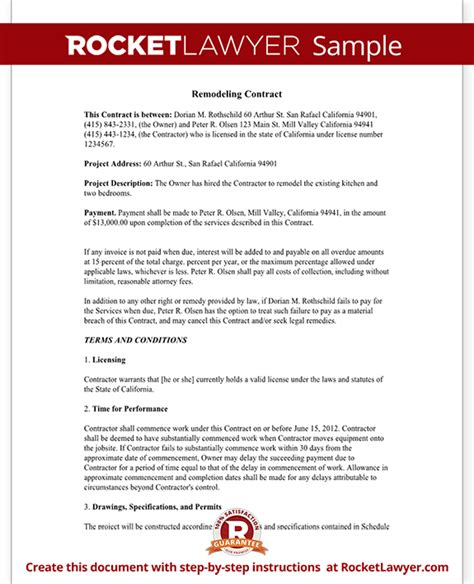 Home Remodeling Contract Form With Sle Free Home Remodeling Contract Template