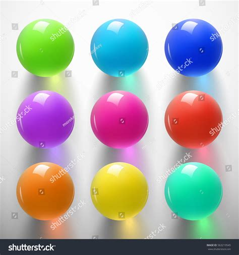 colored balls set glossy colored balls on white stock vector 563219545