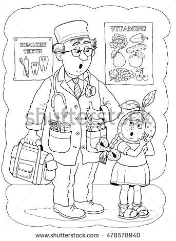 cute doctor coloring page stock images royalty free images vectors shutterstock