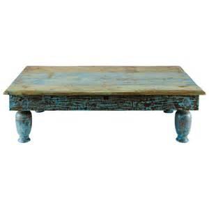 table basse en bois recycl 233 bleue effet vieilli l 122 cm