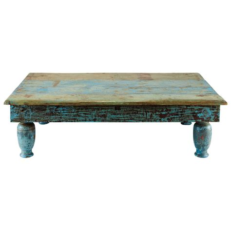distressed blue coffee table recycled wood coffee table in blue with distressed finish