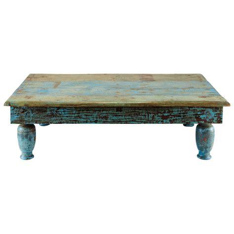 Table basse en bois recyclé bleue effet vieilli L 122 cm Trinidad   Maisons du Monde