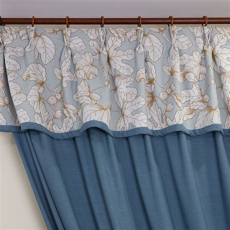 patterned linen curtains blue botanical patterned jacquard linen cotton blend