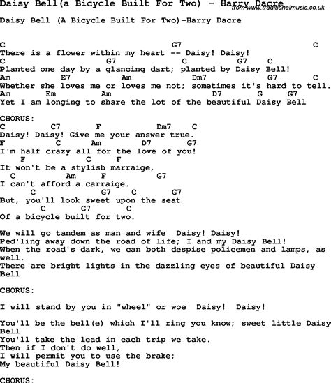 Daisy Bell A Bicycle Built For Two Harry Dacre Lyrics | harry dacre quot a bicycle built for two quot sheet music