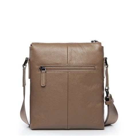 layer cow leather vertical messenger bag khaki
