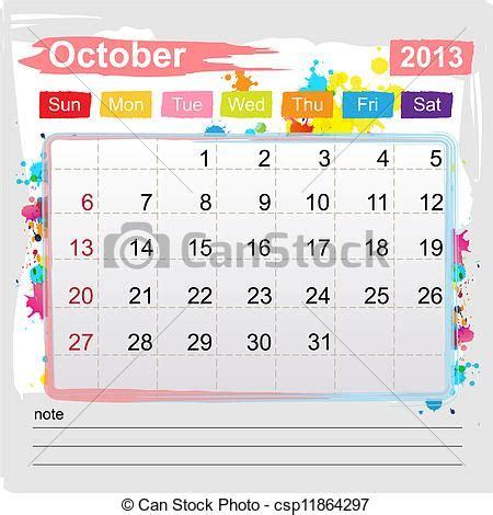 Calendrier Octobre 2013 Vecteurs Eps De Calendrier Octobre 2013 R 233 Sum 233