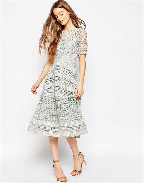 Premium Dress asos premium occasion lace midi dress in gray lyst