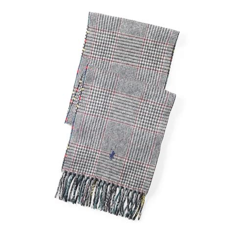 plaid wool scarf polo ralph reversible plaid wool scarf in blue for