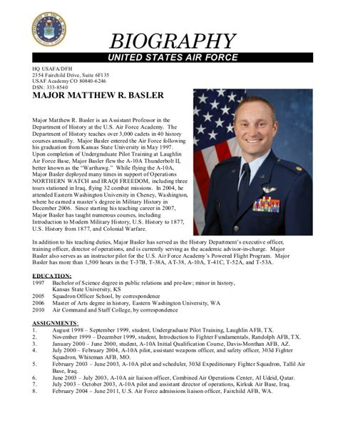military biography format secrets for sle military bio bio exles