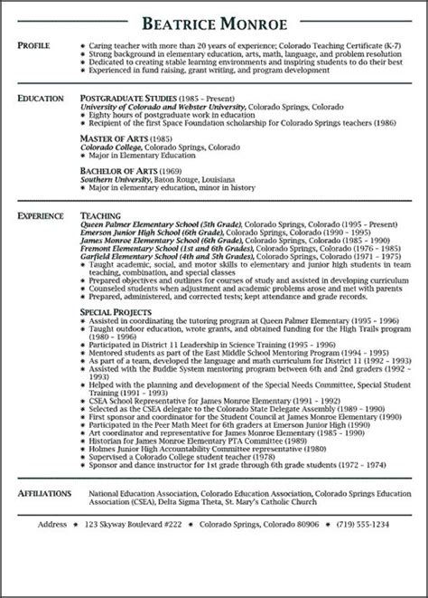 free sles of resume for teachers best 25 resumes ideas on teaching resume teaching portfolio and