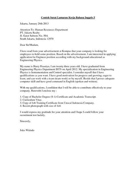 Surat Lamaran Kerja Fresh Graduate Bahasa Inggris - ben jobs