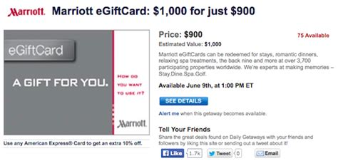 Marriot Gift Cards - today s daily getaways discounted marriott gift cards one mile at a time