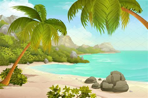 tropical beach with palms illustrations creative market