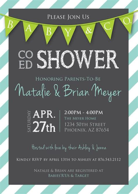 coed baby shower co ed baby shower flags and stripes invitation gray lime light aqua