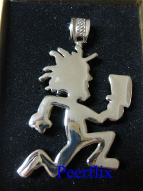 iced out silver hatchetman juggalo pendant with 24 quot silver